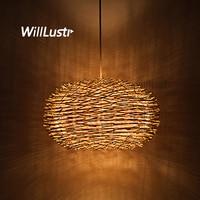 willlustr wicker pendant lamp bird nest shape hanging lighting bar hotel restaurant mall lounge porch handmade suspension light