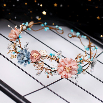 CC Wedding Jewelry Hairbands Crown Forest Style Seaside Party Engagement Hair Accessories For Bridal Flower Beads Yarn Gift 9870 1