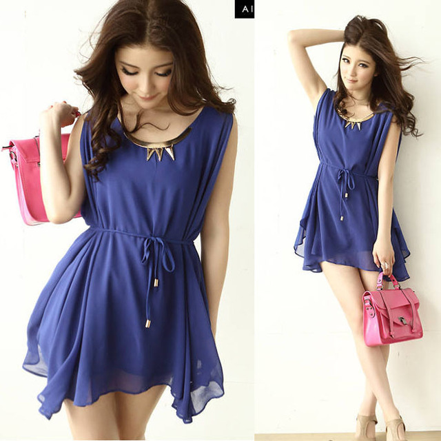 Fashion Womens Crew Neck Sleeveless Solid Sequined Asymmetrical Hem Chiffon Casual Dress Size S Blue Pink Free Shipping New 0848