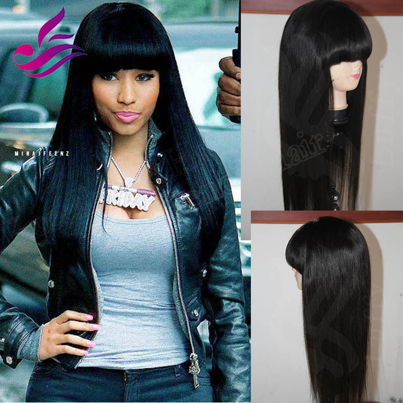 Thick Chinese Bangs Brazilian Silky Straight Virgin Hair Full Lace Human Wigs Front Wig With Fringes For Black Women In From