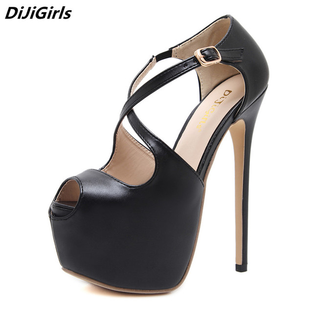 2019 Sexy Shoes High Heels 16 cm Women Pumps Cross-tied Buckle Platform Heels Lady Pumps Nightclub Open Toe Fish Mouth Stilettos 1