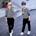 Spring and Autumn girls and boys sets Striped children suit Fashionable children's clothing Mr. Ma recommended 2 Piece