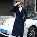 Estrella Gao Yuanyuan con puro Coreano de manga larga doble de pecho ropa de abrigo de tweed de lana de las mujeres