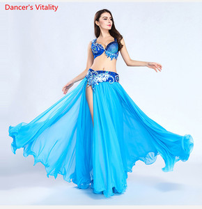 Image 4 - Luxury For Women Belly Dance Costume Bra Belt Skirt Set Of 3 Pieces Performance Show Costume White Sky Blue Free Shipping