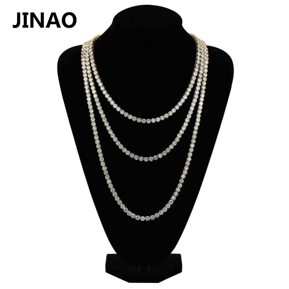 JINAO 1 Row Gold Silver Necklace AAA Cubic Zirconia Micro Paved All Iced Out Tennis Bling Lab CZ Stones Necklace for Men Women
