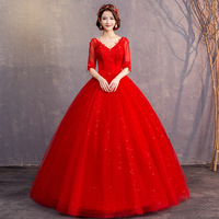 Red Tulle Mariage 1/2 Sleeve Bridal Gowns Vestido De Noiva Lace Appliques Wedding Dresses Elegant Princess Ball Gown 05326