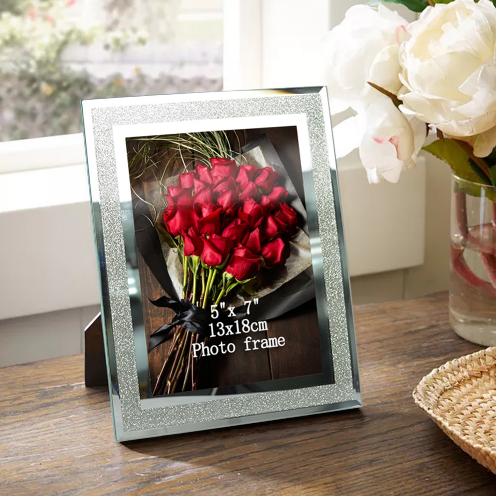2pcs giftgarden 5x7 glass frames set silver picture frame sets home decor table ornaments