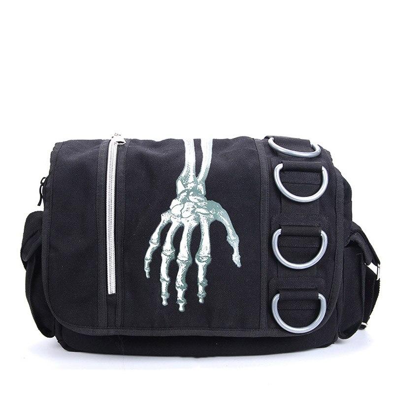 Для мужчин Для женщин унисекс скелет руки Ходячие мертвецы Готический Водонепроницаемый плеча Креста Посланник школы деловые сумки