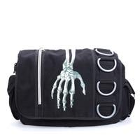 Men Women Unisex Skeleton Hand Walking Dead Gothic Waterproof Shoulder Cross Messenger School Work Bag