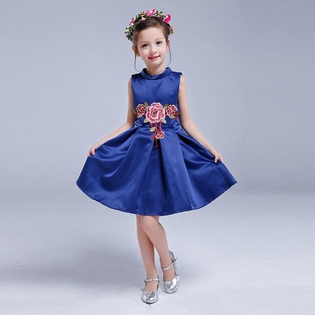2016 primavera verão high-end europeu americano girls dress princess tutu vestido bordado vestido da menina flor festa de casamento presentes