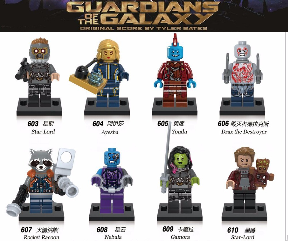 8pcs lot X0159 Super Heroes Guardians of the Galaxy Nebula Gamora Yondu Bricks Building Blocks Best