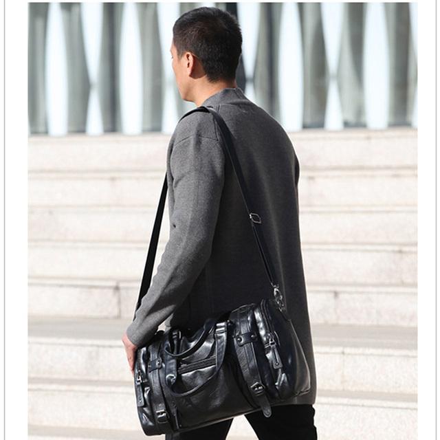 VXOO Men Luxury Large Capacity Black Messenger Bag