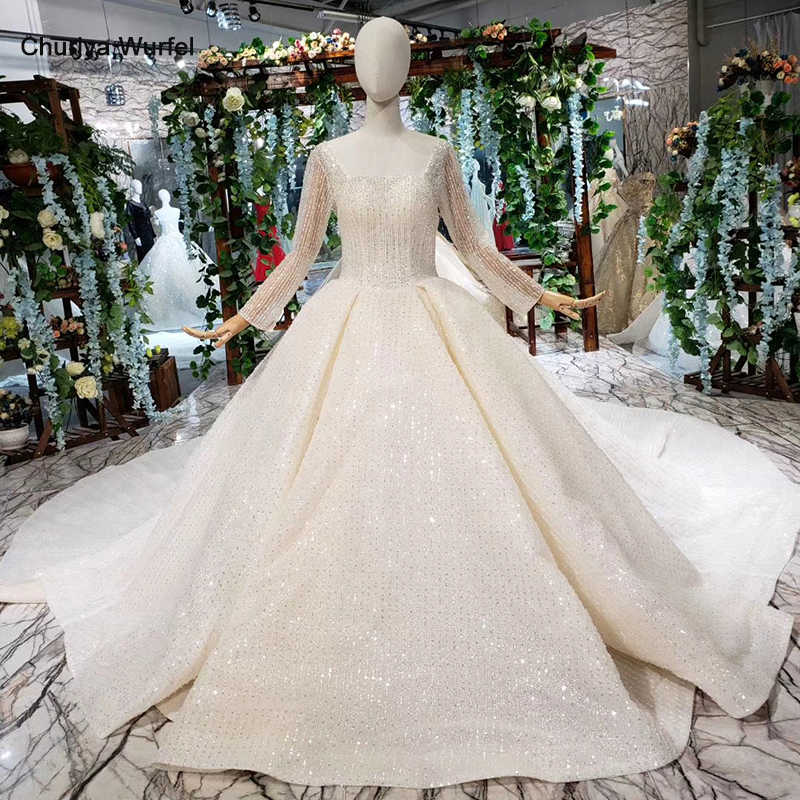 HTL346G luxury Wedding Dresses with wedding veil square neck long sleeves wedding gown with detachable train top new material
