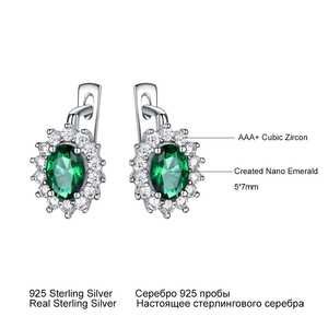 Image 4 - UMCHO 925 Sterling Silver Earrings Gemstone Created Emerald Clip Earrings For Female Birthday Anniversary Gifts Fine Jewelry