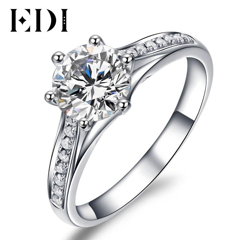 Unico Regalo di San Valentino Per Il Vostro Amore 1 Carat Round Brilliant Moissanite Diamante Halo Bowknot 10 k Oro Bianco Anello Di Fidanzamento