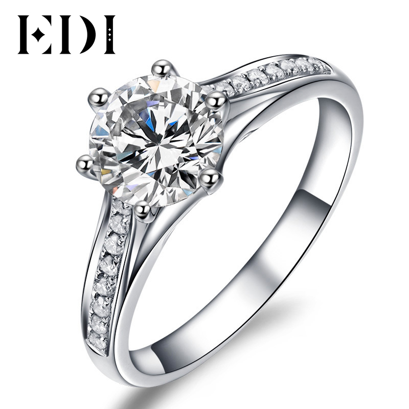 Unique Valentine Cadeau À Votre Amour 1 Carat Brillant Rond Moissanite Diamant Halo Bowknot 10 k Or Blanc Bague de Fiançailles