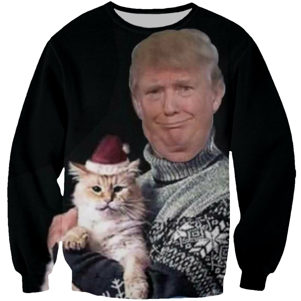 YX GIRL 3D Print Trump Chritmas T shirt For Women Men Hoodies Sweatshirt Casual Trump holding a santa cat Tshirt Dropshipping in T Shirts from Men 39 s Clothing