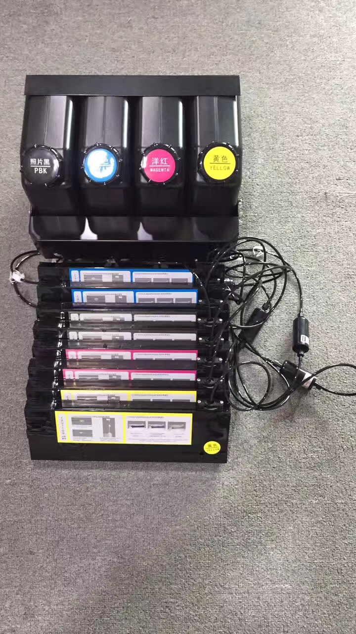 UV bulk ink system use for Roland/Mimaki/Mutoh large format printers 4 ink bottle + 8 UV ink cartridge CISS 1000ml x 4color textile pigment ink in bottle for roland mimaki mutoh printer