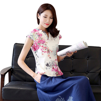 Floral V Neck Petal Sleeve Ladies Skirt Slim Handmade Button Chinese Style Blouse Summer Cotton Linen
