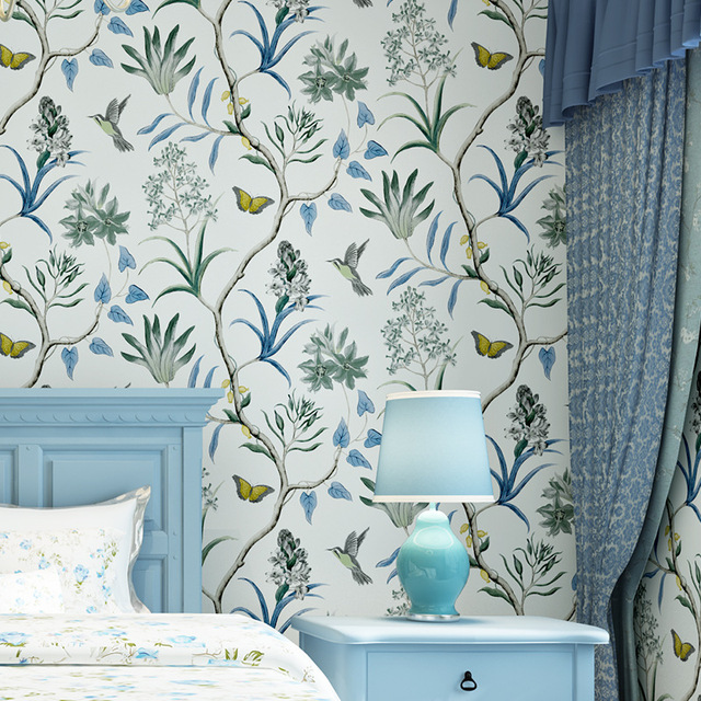 3D Modern Wallpapers Home Decor Flower Wallpaper 3D Non Woven Wall Paper  Roll Bird Trees Wallpaper