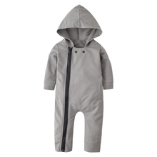 Spring Baby Boys Casual Solid Hoodie Romper England Style Infant Long Sleeve Rompers Jumpsuit Costumes