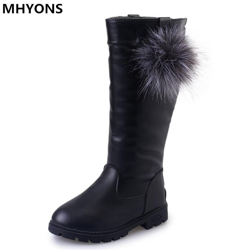 2018 New Brand Warm Girls Snow Boots With Bow tie Warm Plush Kids Boots Winter Boots For Children High Boot for Girls Shoes ZIP