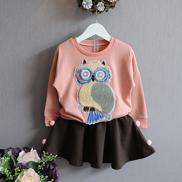 Autumn / Spring Baby Girl Clothes Set Fall Outfits Girls Clothes Suit Owl printing Long Sleeve top+Short Skirt 2 pcs New Design