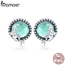 BAMOER New Collection Romantic 925 Sterling Silver Fairy Story Light Green CZ Stud Earrings Women Sterling Silver Jewelry SCE383(China)