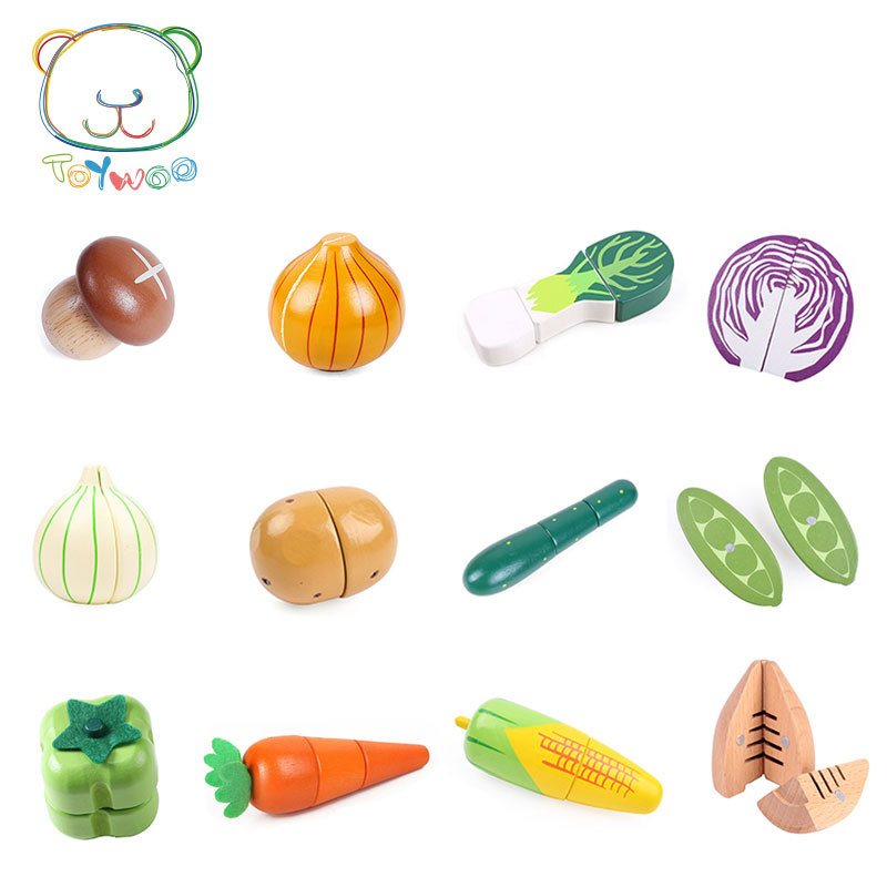 [Toy Woo] Kid Assembly Food Wood Toys Simulation Fruit And Vegetable Slice Toy Magnet Single Sold Classic Pretend Play