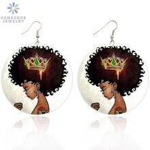 Drop-Earrings Afro African-Crown Black Queen Girl Jewelry Wooden Natural SOMESOOR Hair