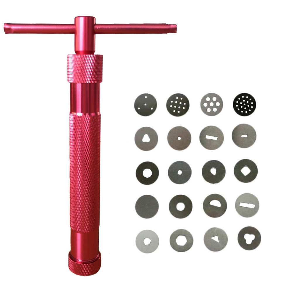 Christmas Red Metal Sugar Paste Extruder Craft Gun with 20 Discs Fondant Cake Sculpture Polymer Clay Tools