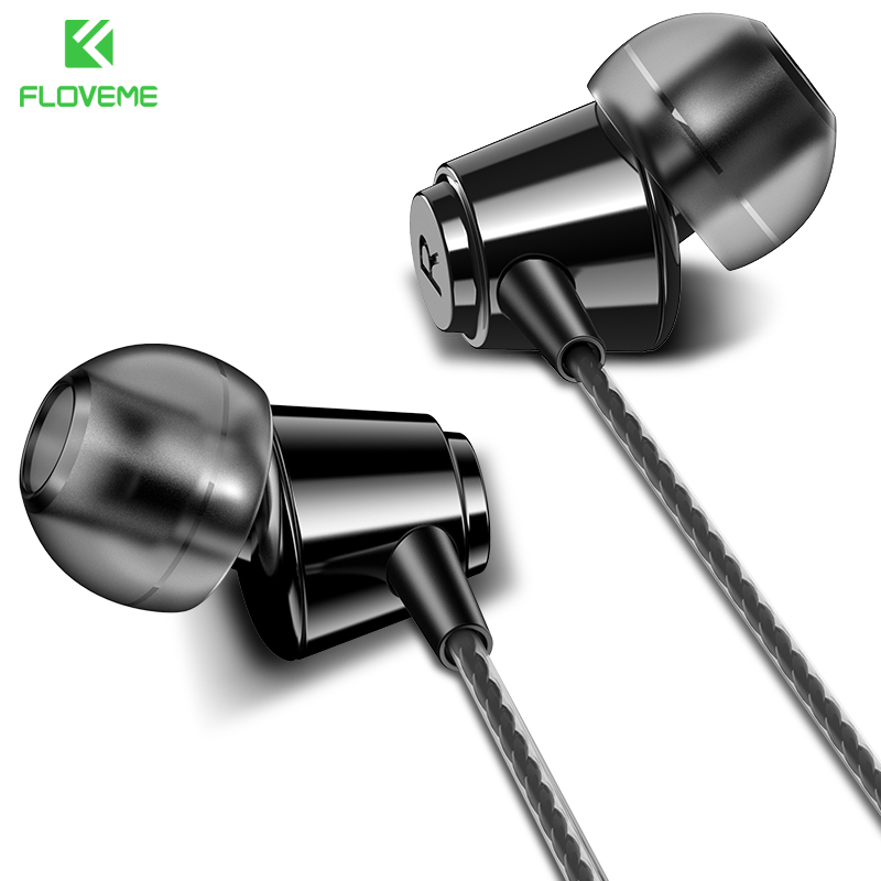 FLOVEME 3.5mm Wired In Ear Earphone With Microphone For Xiaomi iPhone Hifi Mic Earbuds Stereo Music Sport Headset Fone Universal xiaomi miui 3 5mm stereo in ear earphone w microphone black
