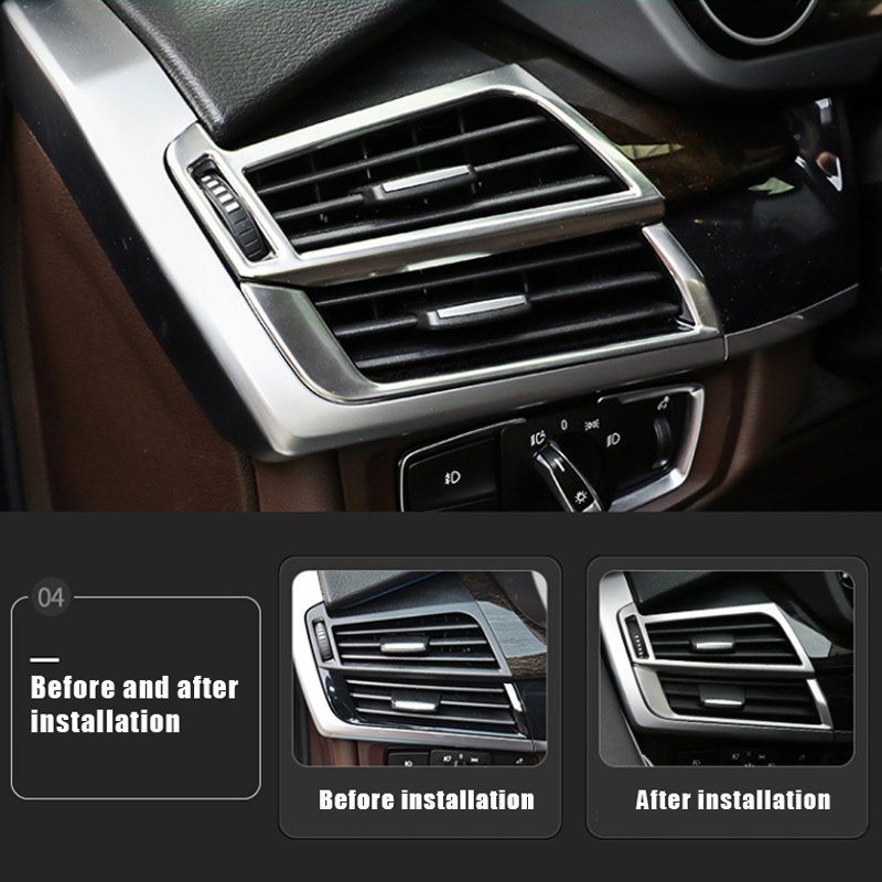 new car styling interior dashboard side air vent outlet cover trim stickers for bmw x5 f15 e70. Black Bedroom Furniture Sets. Home Design Ideas