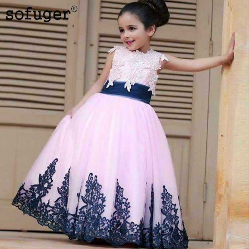 Pink Girls Pageant Dresses Lovely Flower Girl Appliques Communion For Party Dress