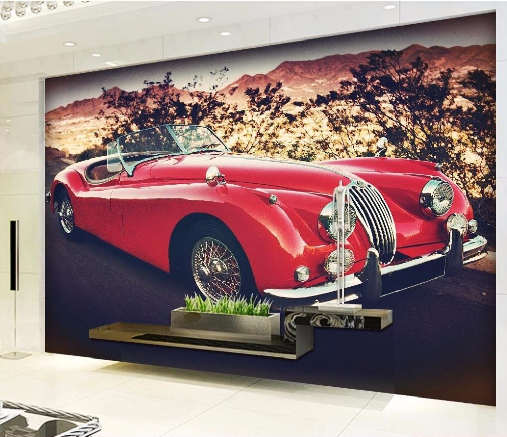 Custom mural 3d room wallpaper landscape classical red for Car wallpaper mural