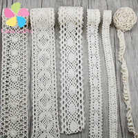 2 Yards Lot Multi Size Option Crocheted Trim Cotton Lace Ribbon Sewing Fabric Handmade Accessories 050021158