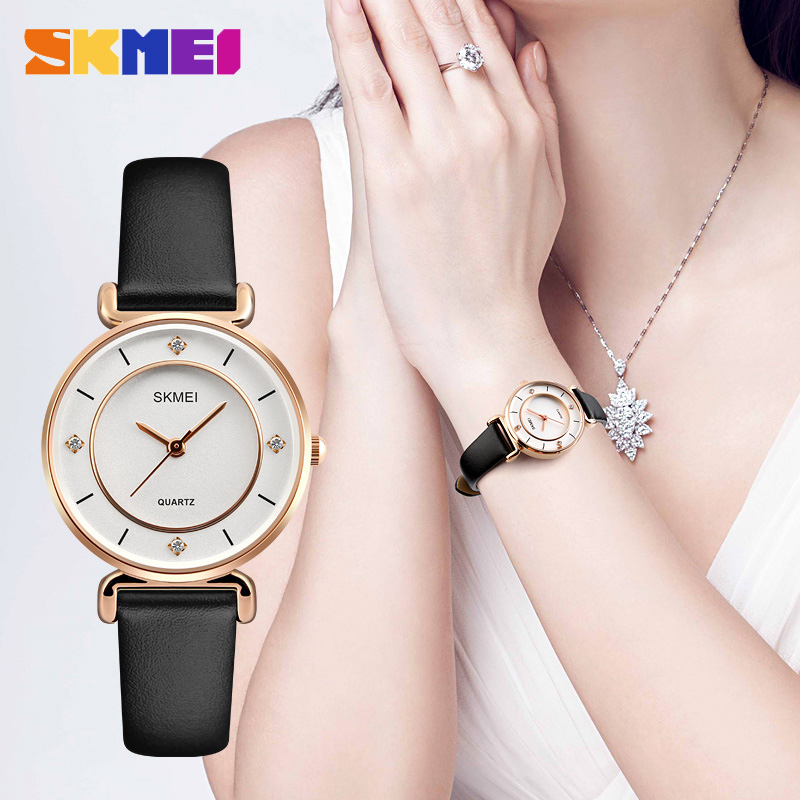 Top Luxury Brand SKMEI New Fashion Casual Watches Women Waterproof Watches Leather Strap Ladies Quartz Watch Relogio Feminino enlarge