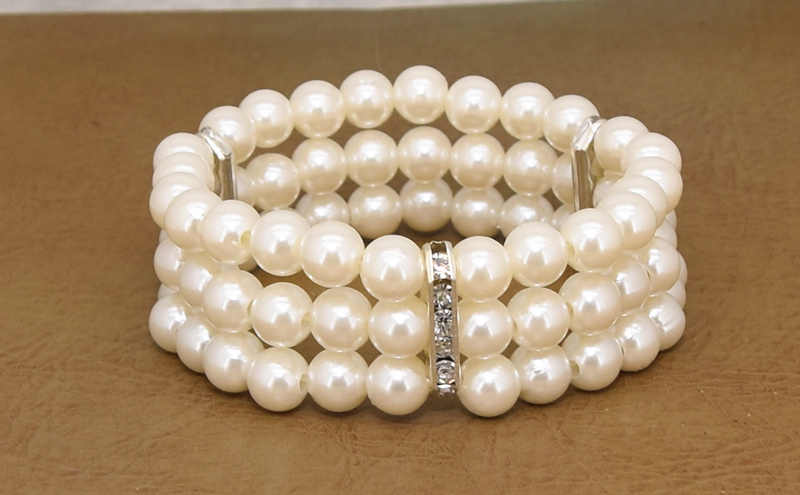 Hot New Fashion Elasticity Bracelet Simulated Pearl Multilayer Beaded Charm Wide Cuff Bracelets Bangles For Women 2019 Jewelry