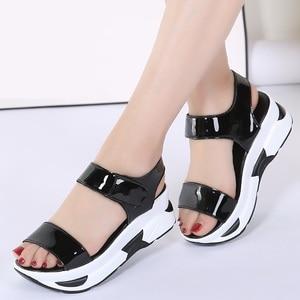 Image 4 - WDZKN 2020 Summer Shoes Women Sandals Open Toe Wedges Heel Sandals Mirror PU Leather Women Casual Platform Sandals Black Blue