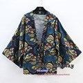 Новый шаблон Японский Колледж Национальном стиле ретро Солнце пальто Кардиган Плащ Хлопок кимоно печати сектора