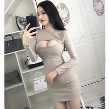 Women sexy dress Night Club Open-chest  Slim Long Sleeve Dress Autumn 2019 New