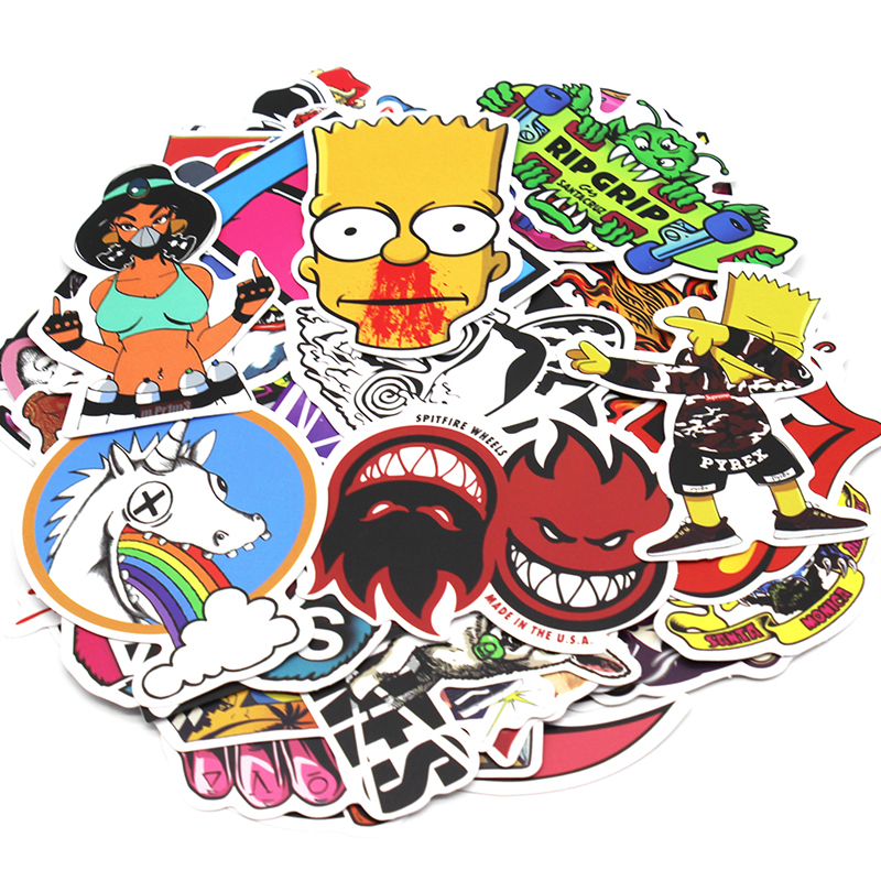 Image 3 - 200 PCS Random Vinyl Skateboard Travel Case Helmet Sticker Decal ATV Motorcycle Car Stickers Fashion Rossi Funny Sticker Bomb-in Decals & Stickers from Automobiles & Motorcycles
