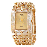 Luxury Watch Men Women Gold Crystal Dress Quartz Watches Crystal Wristwatch Xmas Gifts HK Or Swiss