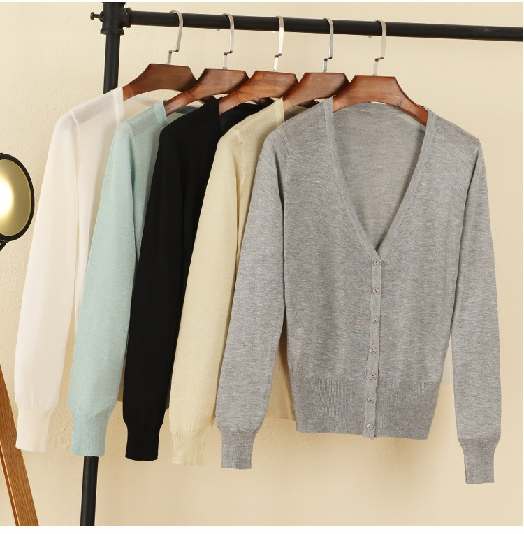 2018 Spring Autumn Casual Wear Computer Knitted V-neck Cardigans Women Regular Solid Single Breasted Thin Cardigans Women ...