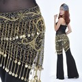 Belly Dance Costume Crocheted Hip Scarf Belt Sequins & Golden Coins 3 Colors