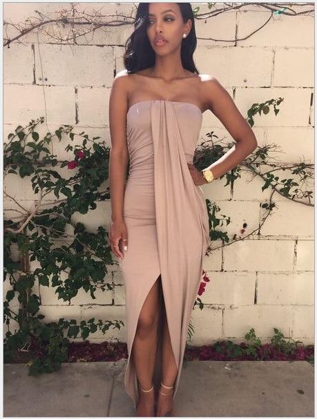 Hotsale Summer Dress Sexy Backless Tube Dress Long Dress -4994