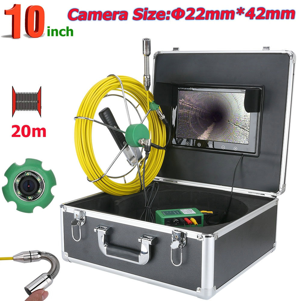 Câmera de Vídeo Inspeção da tubulação, 20 M 30 M 50 M IP68 À Prova D' Água Sistema de Câmera De Inspeção De Esgoto Tubo de Drenagem 10 polegada 1000 TVL