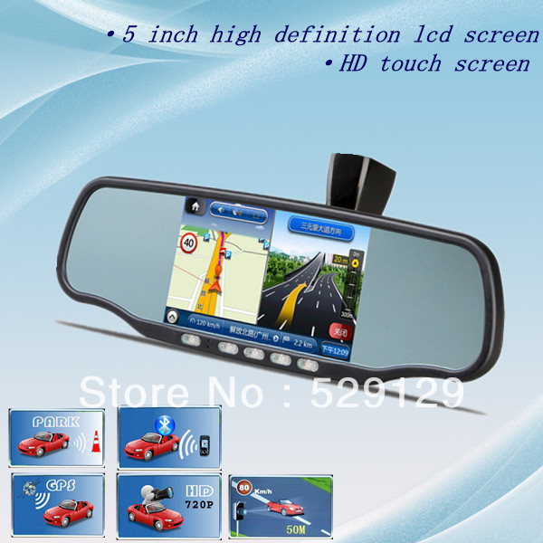 Car rearview mirror GPS and DVR system support digital video bluetooth 4GB card+ DVR camera