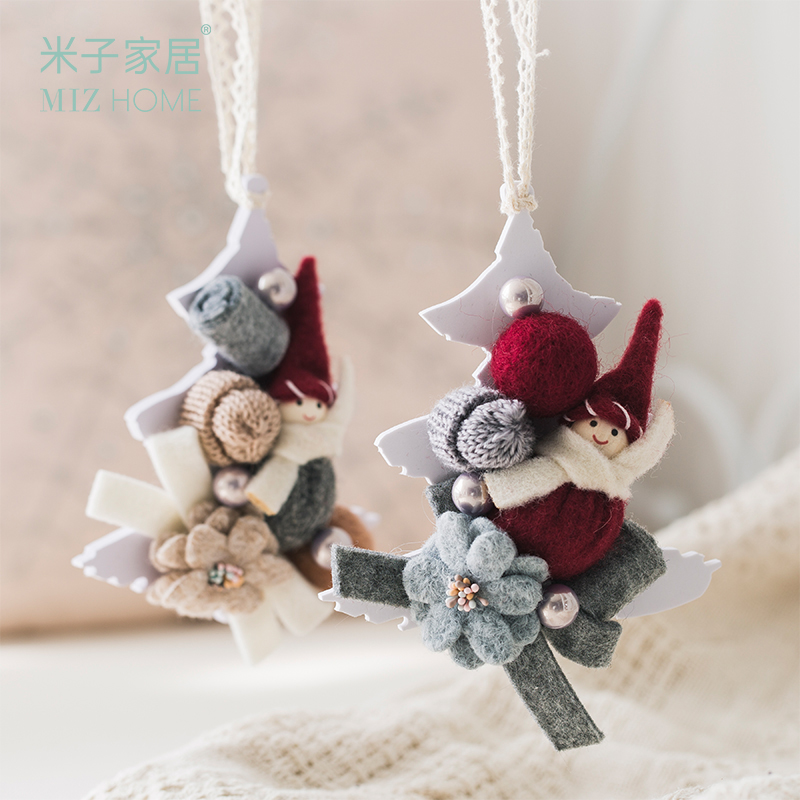 Miz 1 Piece Felt Handicrafts with Cute Hats Snowman Pendant Wall Hanging Ornaments Home Decor Kid's Bedrooms Decoration Gift