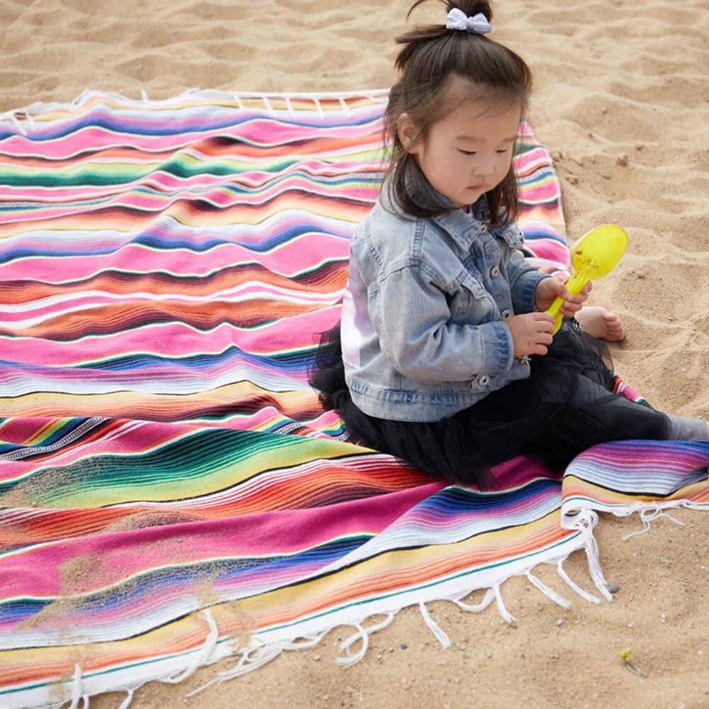 ✔  Подлинное синее мексиканское одеяло Falsa  сплетенное вручную  одеяло циновки йоги ①